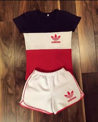 shorts adidas shorts adidas outfit adidas adidas shirt blouse jumpsuit tracksuit sportswear t-shirt shirt pants red addidas shirt addidas pants red white blue short short and shirt set stripes striped shirt sports shorts