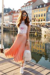 skirt,tumblr,midi skirt,orange,pleated,pleated skirt,t-shirt,white t-shirt,sneakers,white sneakers,backpack,white backpack,sunglasses,shoes,bag