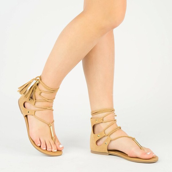 shoes sandals strappy sandals toffee boho lace up sandals qupid
