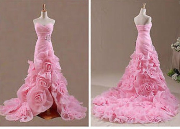 784edd00acac dress wedding dress wedding clothes wedding wedding accessories rose roses  flowers pink pink dress girly girl