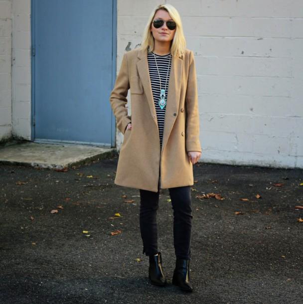 platinum and penniless blogger coat t-shirt pendant stripes winter coat camel coat jeans shoes jewels