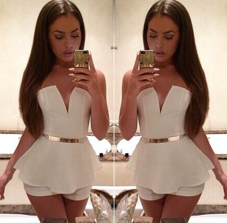 Sexy plunge v neck strapless peplum skirted short jumpsuit romper club casual z
