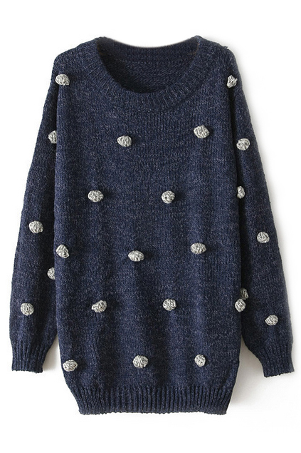 ROMWE | ROMWE Fluffy Ball Embellished Loose Blue Jumper, The Latest Street Fashion