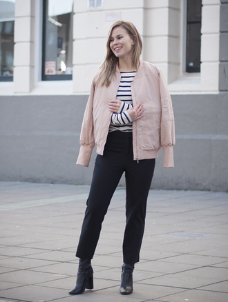 jacket black and white striped shirt pink bomber jacket black trousers black boots blogger