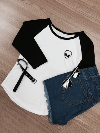 top zaful black and white fashion trendy cute grunge black denim shorts hipster casual baseball tee alien
