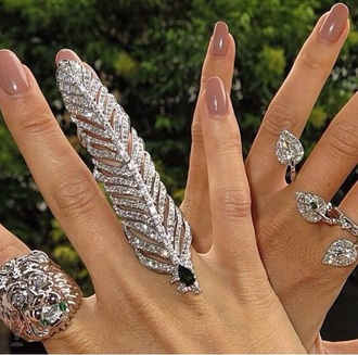 jewels ring diamonds nail polish finger rings