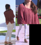 shirt,wide,jeans,pants,white,red,buttons,wedges,summer,summer wedges,love,pretty,dark red,ripped jeans
