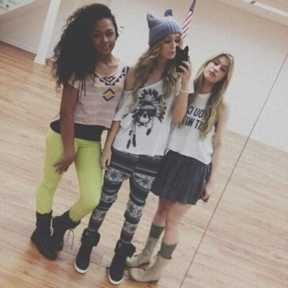 shirt printed leggings acacia brinley clark girly cat ear beanie totally cute comfy outfits swag girl