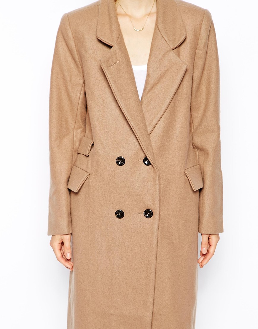 Ganni Double Breasted Long Lined Coat at asos.com