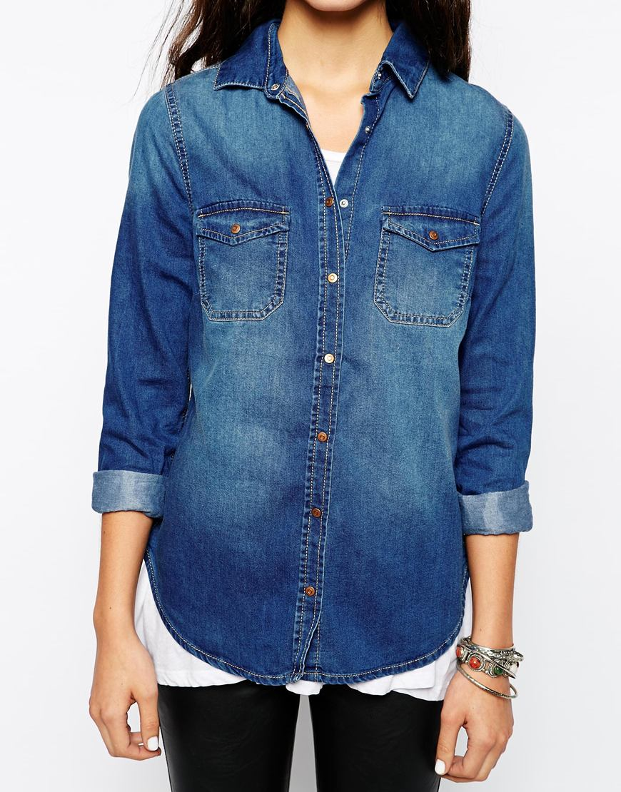 New Look Denim Shirt at asos.com