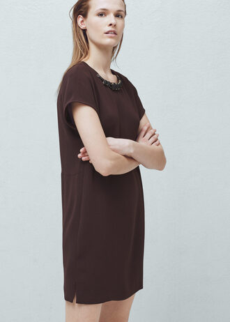 dress bejewelled brown dress