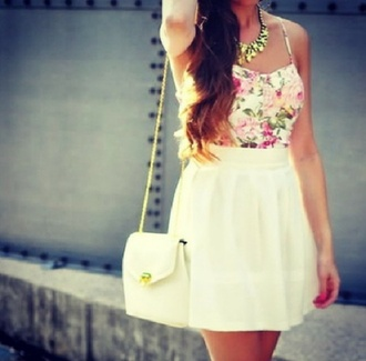 skirt white skirt floral crop top white and gold bag