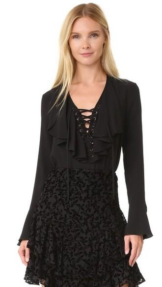blouse ruffle lace black top