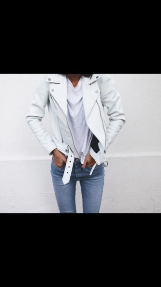 jacket leather jacket white jacket perfecto casual skinny jeans back to school college fall outfits white t-shirt cute outfits