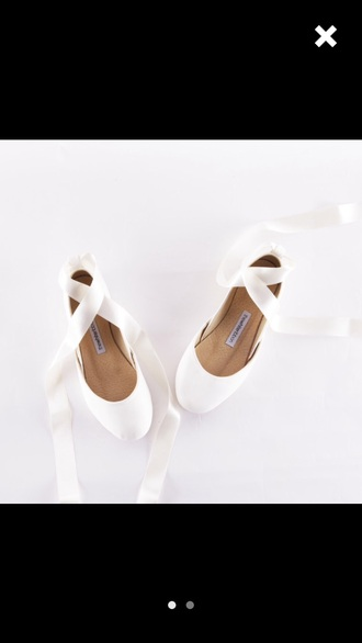 shoes white wedding ballet pointe ballerina flat ribbon flats