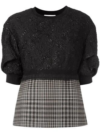sweatshirt women floral black silk wool sweater