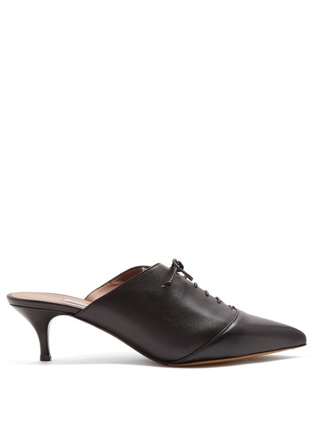 tabitha simmons mules leather black shoes