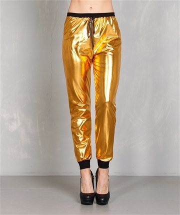 Metallic gold jogger pants