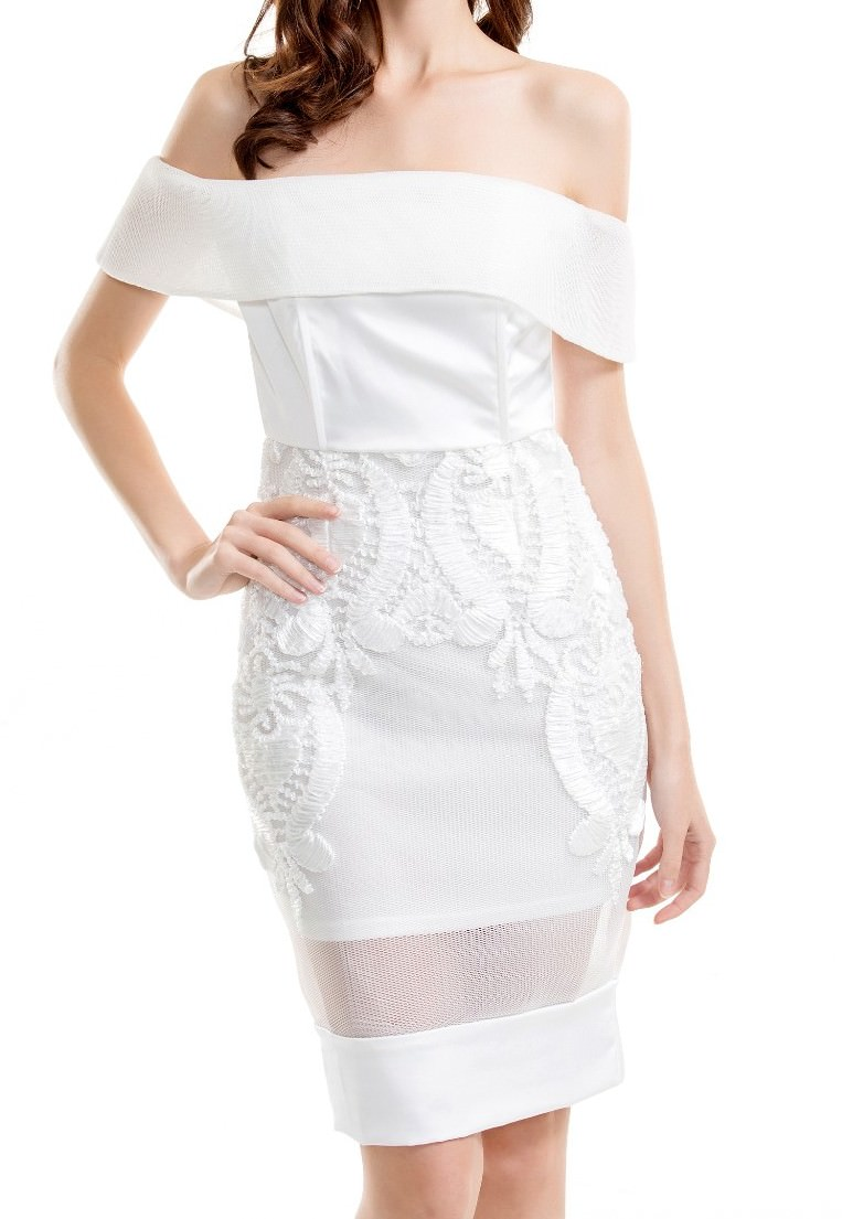 507bacf657f White Strapless Embroidered Lace Dress on Storenvy