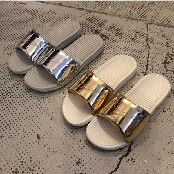 shoes metallic slides slide shoes benassi liquid pack nike sandals gold silver metallic shoes slide shoes nike slides gold shoes slip on shoes silver shoes white shoes white nike shoes nikes
