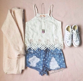 blouse white shorts sweater shoes jewels crochet shirt