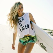 shirt,volcom,beach,sea,later,shorts,california girl beauty,summer sports,mini shorts,white,sea you later,short,tropical,green,surf,tank top,tumblr,sun,summer,tumblr outfit,style,surfer style,t-shirt