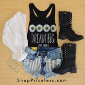 t-shirt,shoes,tank top,black,white,combat boots,cardigan,daisy,crop tops,quote on it,shorts,studs
