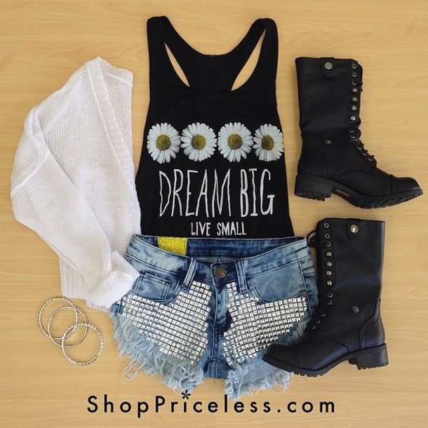 t-shirt shoes tank top black white combat boots cardigan daisy crop tops tank top quote on it shorts studs