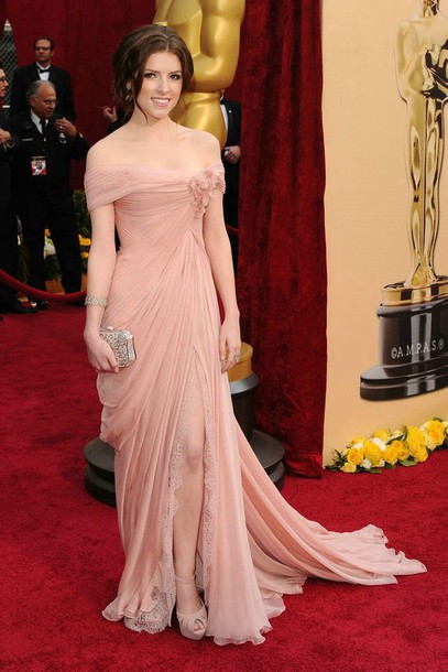 dress grammys 2015 pink dress light pink off the shoulder dress slit dress prom dress prom dress dress flowy dress