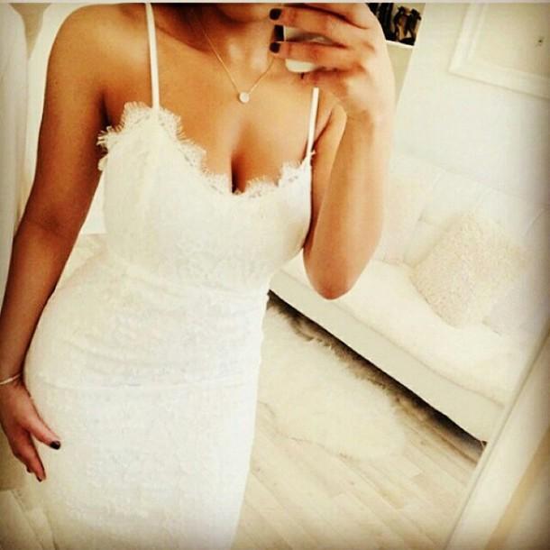dress white dress straps lace dress romantic