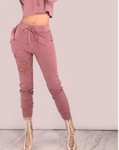 pants,girl,girly,girly wishlist,pink,joggers,joggers pants,ripped,two-piece,matching set