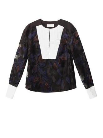 blouse embroidered white black top