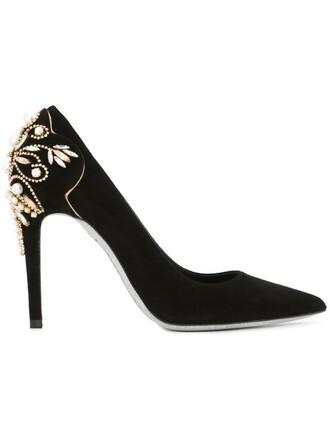 heel embellished pumps black shoes