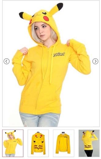 jacket sweatshirt hoodie yellow pokemon pikachu pika otaku japan zip hoodied