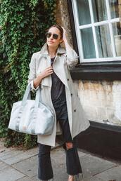louise roe,blogger,coat,t-shirt,jeans,shoes,bag,sunglasses,jewels,trench coat,fall outfits