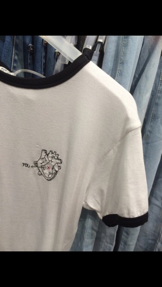 t-shirt heart love basic grunge denim cute black and white holographic shirt 2015 trendy hipster kawaii white neck crewneck 80s fashion you tumblr holographic top black and white shirt 2015 trends high neck 90s style 80s style