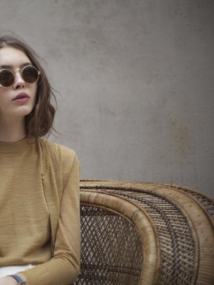 round sunglasses mustard