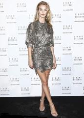 dress,metallic,short dress,mini dress,rosie huntington-whiteley,fashion week 2014