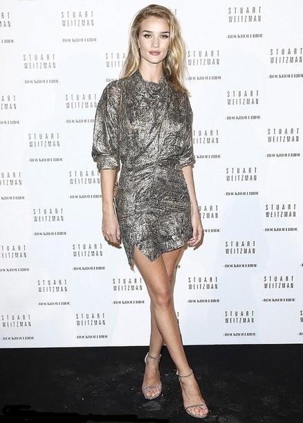 dress metallic short dress mini dress rosie huntington-whiteley fashion week 2014
