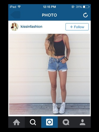 tank top shorts jewels accessories style summer top black crop top high waisted shorts converse shoes tumblr outfit instagram