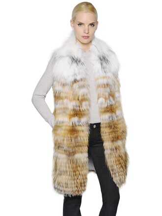 vest fur vest fur fox white brown jacket