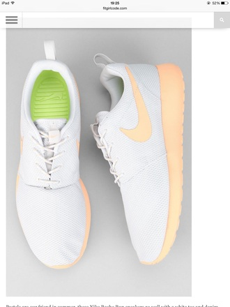 shoes nike roshe run peach coral nike ladies women's united kingdom uk white