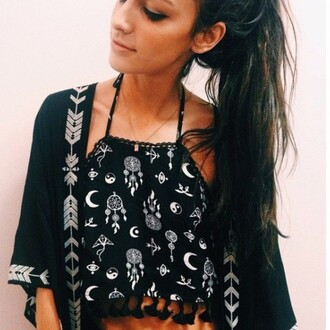 top halter top crop crop tops black black and white moon and sun moon style fashion grunge dreamcatcher pattern