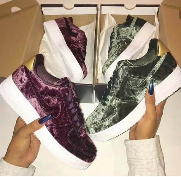shoes nike nike shoes nike sneakers nike air force 1 burgundy green army  green gold velvet
