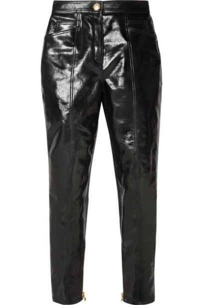 Balmain - Coated Cotton-blend Slim-leg Pants - Black