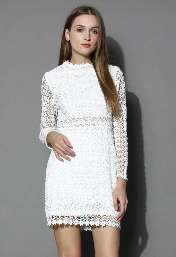 chicwish little daisy crochet white shift dress