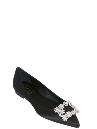 flats satin black shoes