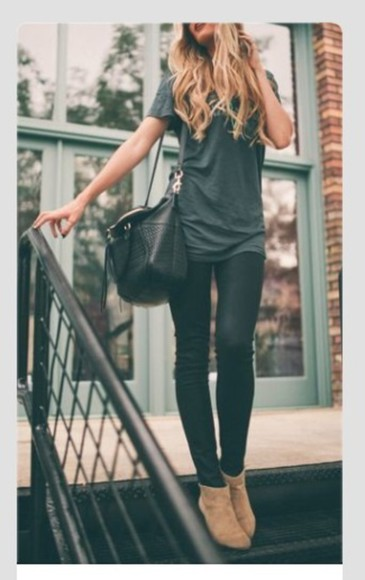 bag leather bag shoes boots fall outfits ankle boots