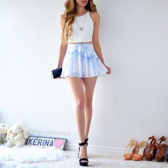 skirt tie dye shorts pleated skirt light blue mini skirt