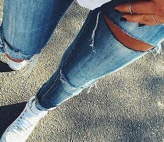 jeans blue jeans holes holed jeans fashion